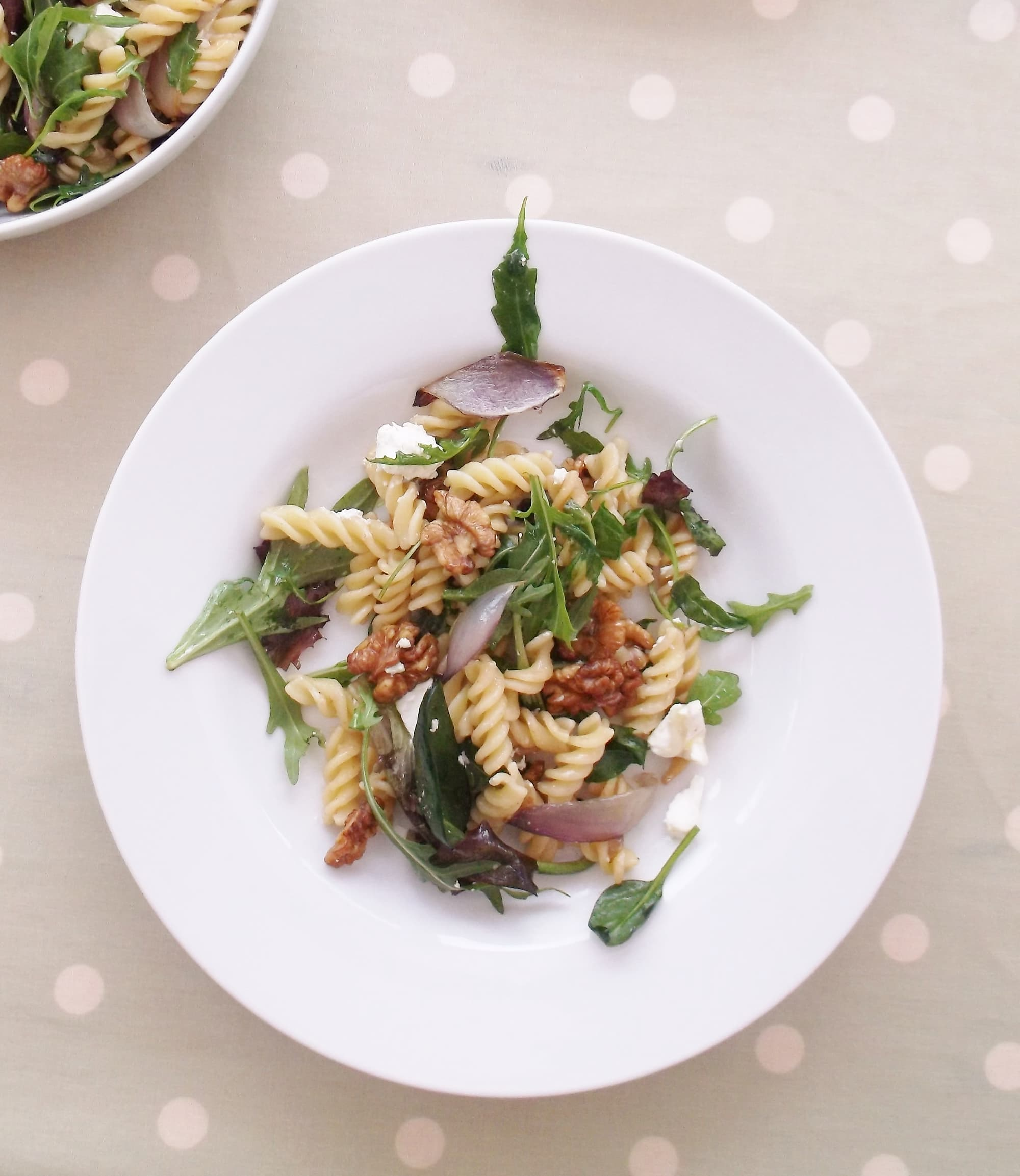 Warm Goat's Cheese, Red Onion and Walnut Pasta Salad (Veggie)