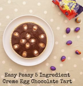 Easy Peasy 5 Ingredient Creme Egg Chocolate Tart #cremeeggs #chocolatetart #easter #eastereggs #eastertart #cremeeggtart #easter2019