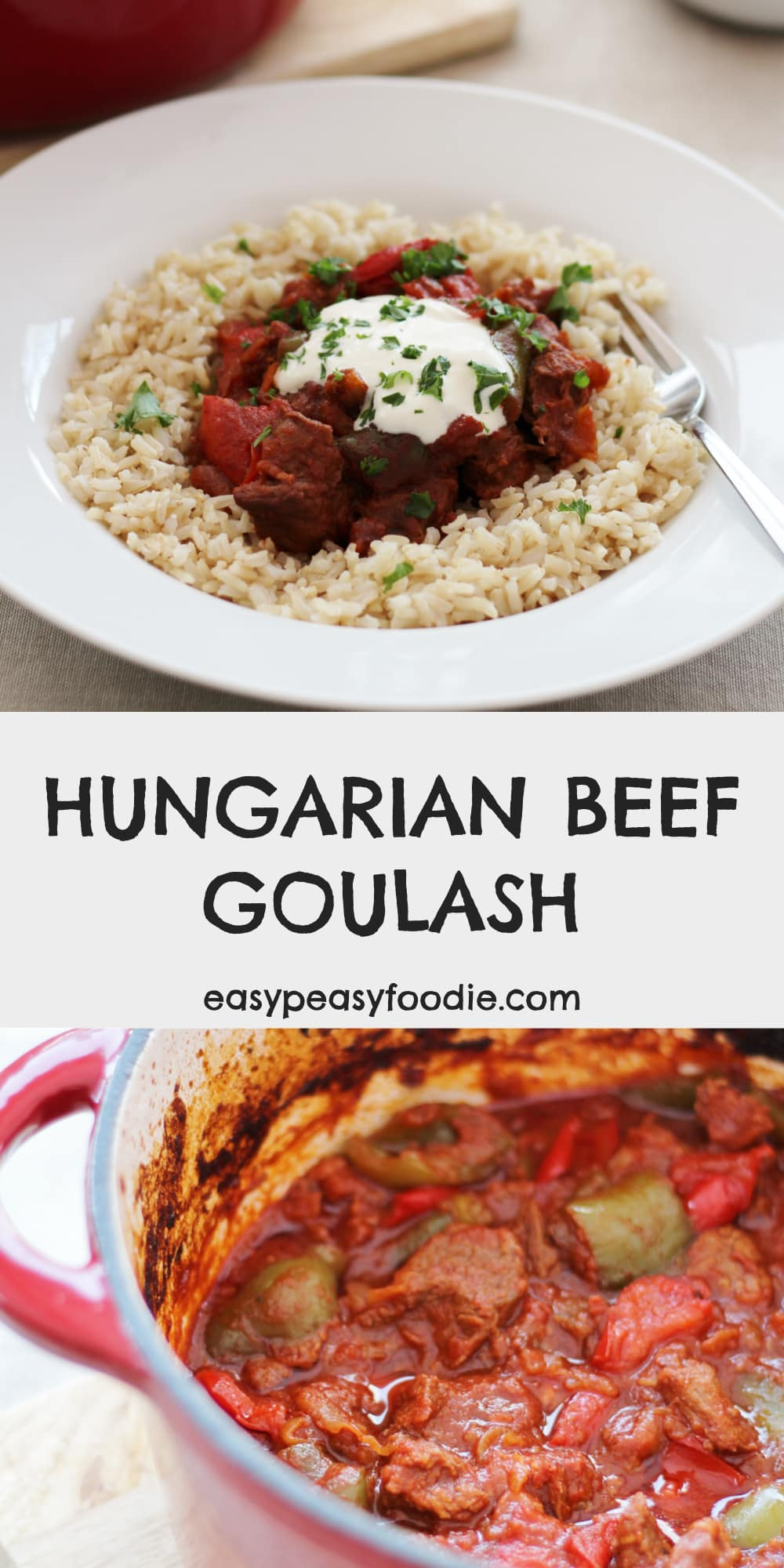 Easy Hungarian Beef Goulash - pinnable image for Pinterest