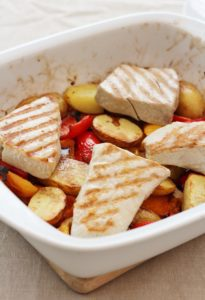 Balsamic Glazed Tuna with Roasted Peppers and New Potatoes