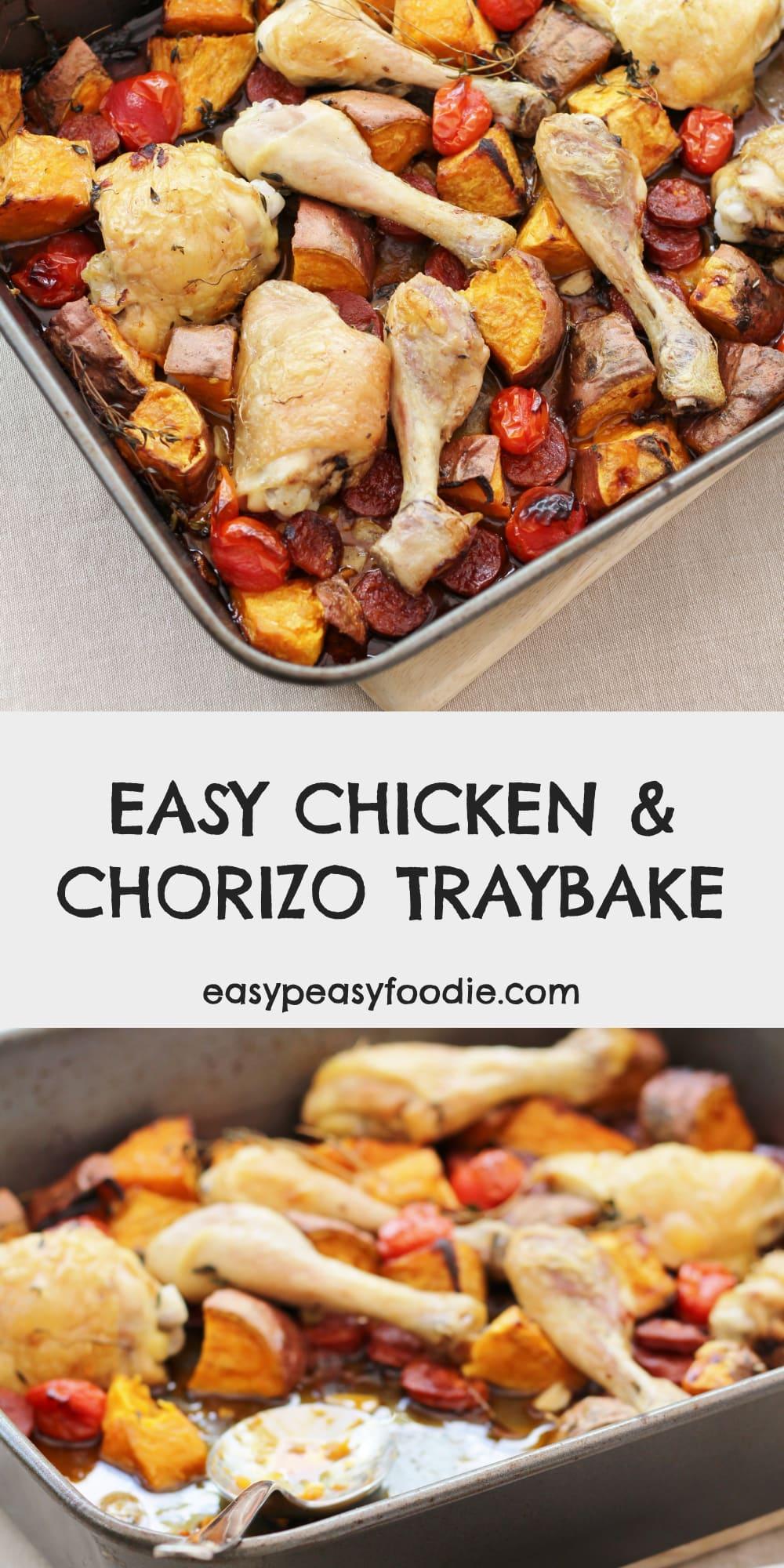 Chicken, Chorizo and Sweet Potato Traybake - pinnable image on Pinterest
