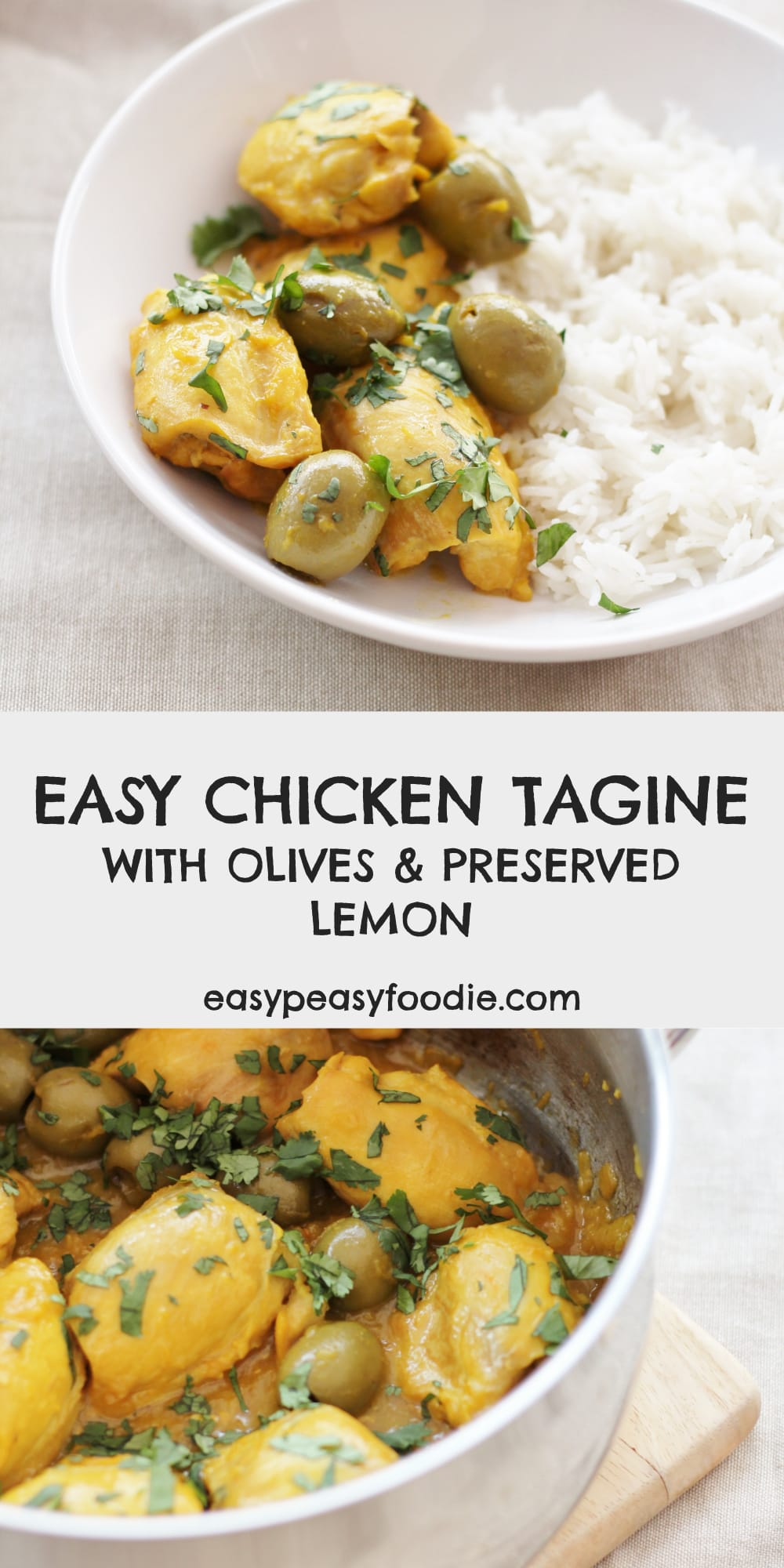 Easy Chicken Tagine with Olives and Preserved Lemon - pinnable image for Pinterest