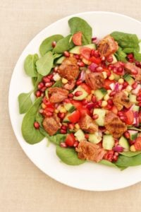 Harissa Lamb with Chickpea and Pomegranate Salad
