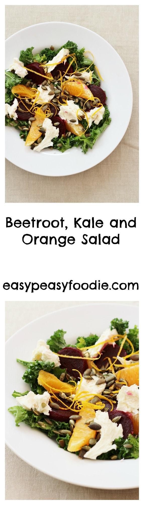 Beetroot, Kale and Orange Salad - pinnable image for Pinterest