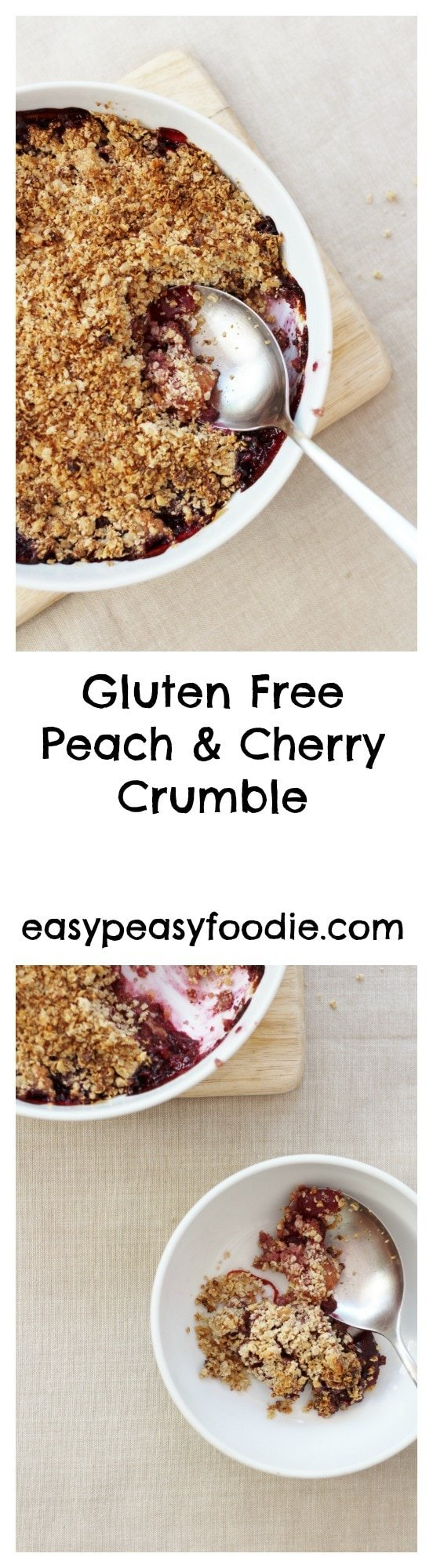 Gluten Free Peach and Cherry Crumble - pinnable image for Pinterest