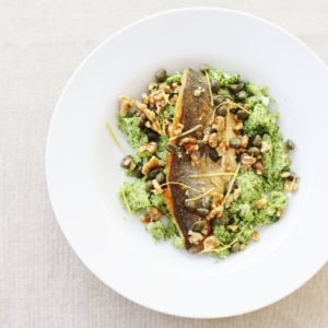 Pan-fried Sea Bass with Broccoli Mash, Walnuts and Capers from Ready Steady Glow by Madeleine Shaw