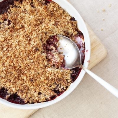 Peach and Cherry Crumble (Gluten Free, Vegan)