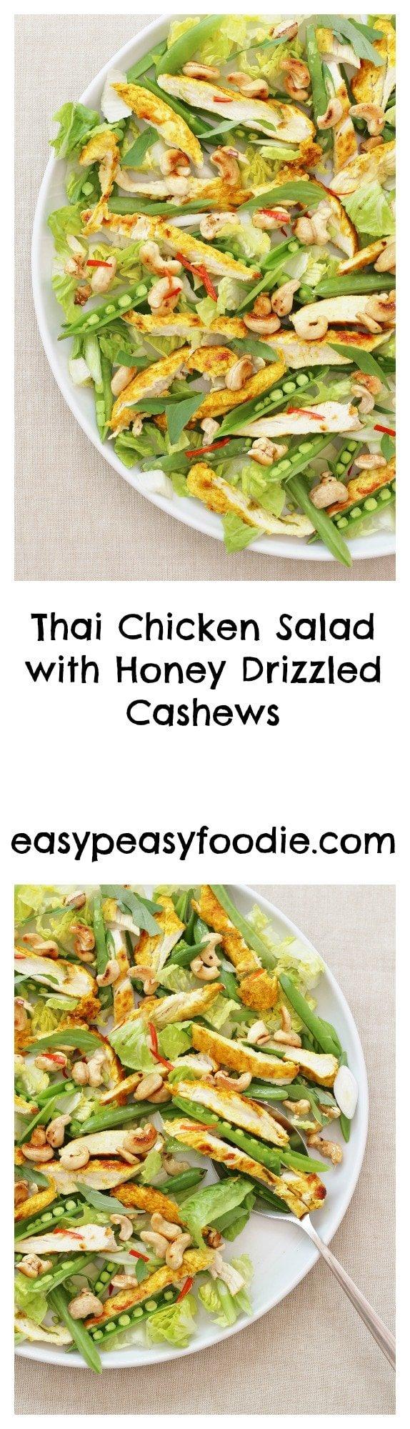 Thai Chicken Salad with Honey Drizzled Cashews