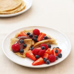 Sirtfood Pancakes with Chocolate Sauce and Berries