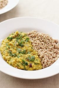 Kale and Red Onion Dhal with Buckwheat