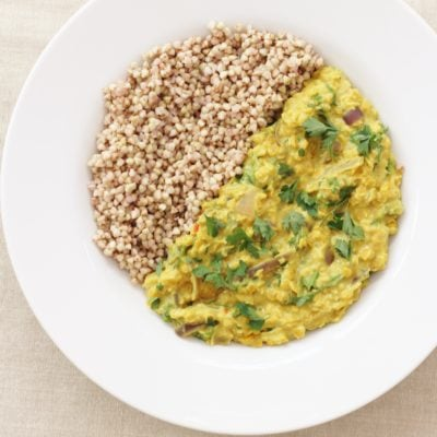 Kale and Red Onion Dhal with Buckwheat (Vegan)