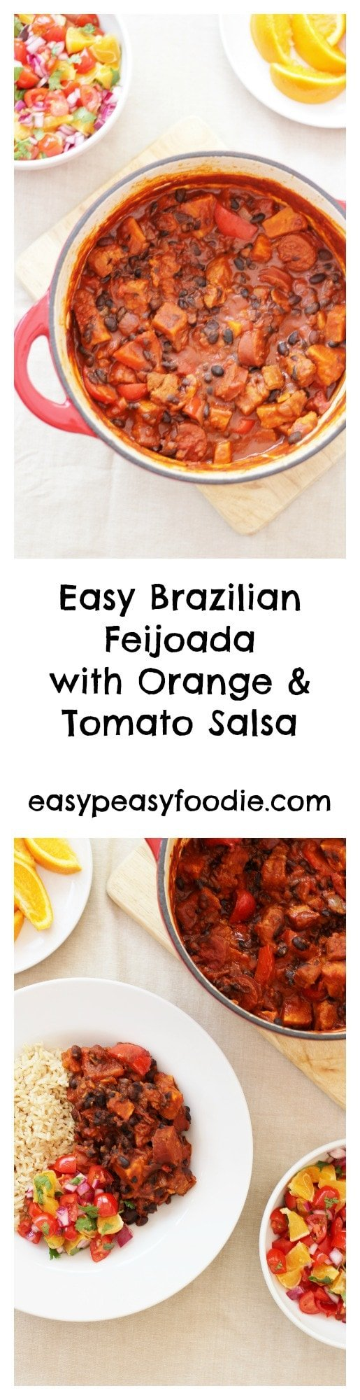 Easy Brazilian Feijoada with Orange and Tomato Salsa - pinnable image with text for Pinterest