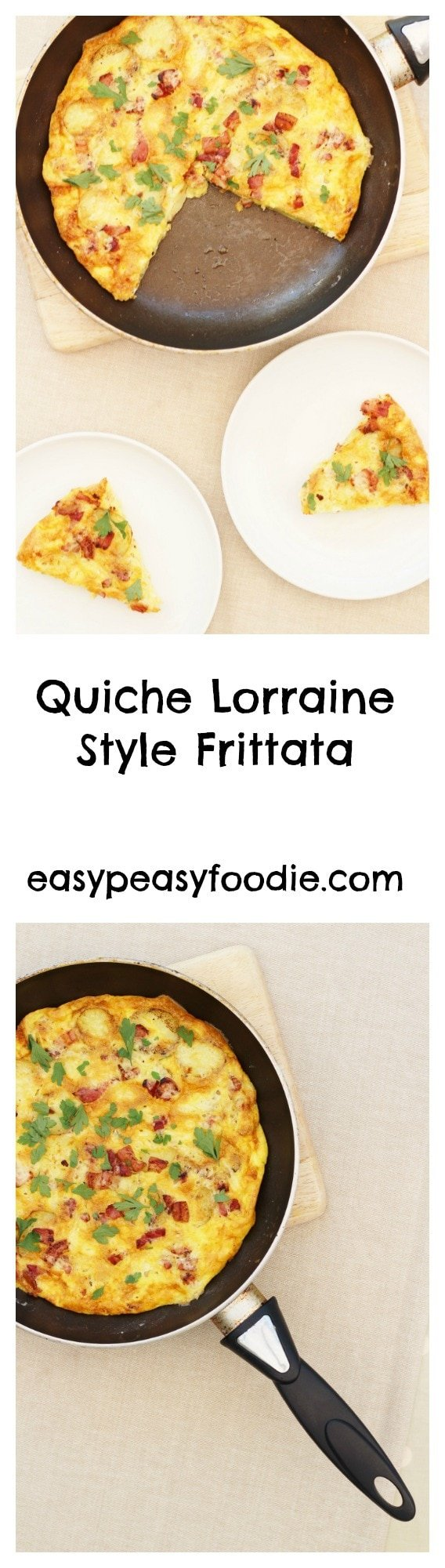 Quiche Lorraine Style Frittata Pinnable Image for Pinterest
