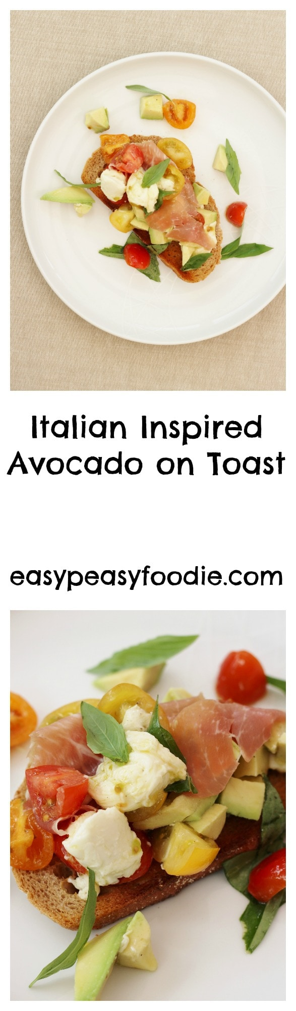 Italian Style Avocado Toast - pinnable image for Pinterest