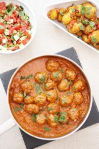 Turkey Tikka Masala Meatballs with Bombay New Potatoes