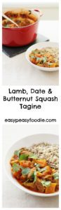 Incredible warming Moroccan spices make this healthy Lamb, Date and Butternut Squash Tagine perfect for chilly evenings. Serve with buckwheat for an extra health kick! #lamb #butternutsquash #dates #lambtagine #tagine #buckwheat #sirtfood #sirtfoods #sirtfooddiet #sirtfoodrecipes #makeahead #onepot #onepotdinner #glutenfree #dairyfree #easyentertaining #easymidweekmeals #easymeals #midweekmeals #easydinners #dinnertonight #dinnertonite #familydinners #familyfood #easypeasyfoodie #cookblogshare