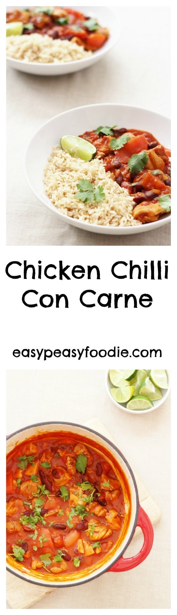 An easy peasy twist on a classic, this Chicken Chilli Con Carne is easy, healthy and totally delicious – plus it can be made in under 30 minutes – perfect for busy weeknights! #chicken #chilli #chickenchilli #chickenchilliconcarne #chickenchili #makeahead #onepot #onepotdinner #glutenfree #dairyfree #easyentertaining #easymidweekmeals #easymeals #midweekmeals #easydinners #dinnertonight #dinnertonite #familydinners #familyfood #easypeasyfoodie #cookblogshare