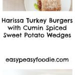 These Harissa Turkey Burgers are easy to make and super tasty – serve them with Cumin Spiced Sweet Potato Wedges and a simple Middle-Eastern inspired salad for a healthy, but totally delicious alternative to the usual beef burger and chips, and all in under 30 minutes! #harissa #harissaturkeyburger #turkey #turkeyburger #healthyburger #sweetpotatowedges #easyentertaining #easymidweekmeals #easymeals #midweekmeals #easydinners #dinnertonight #dinnertonite #familydinners #familyfood #easypeasyfoodie #cookblogshare