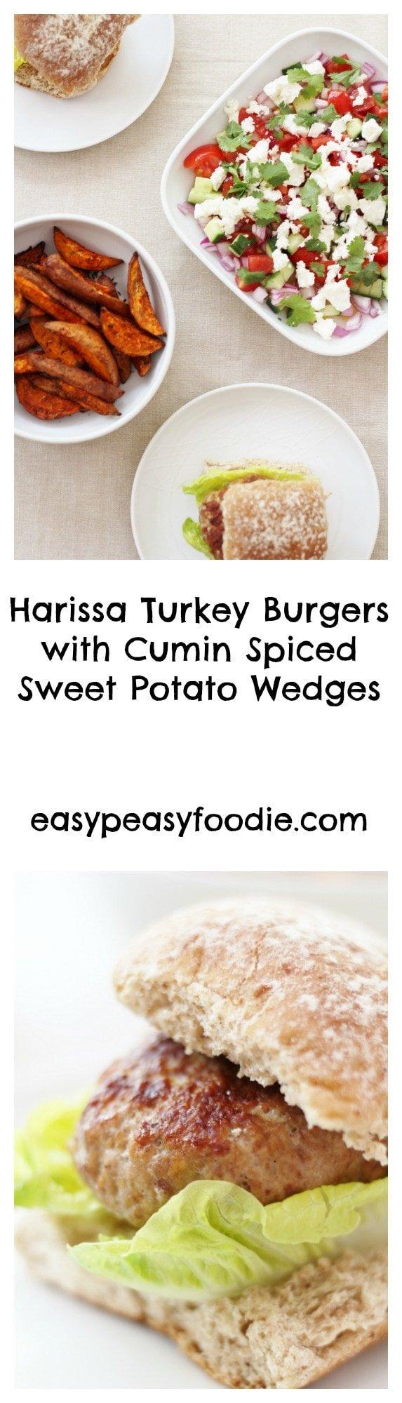 Harissa Turkey Burgers Pinnable image for Pinterest