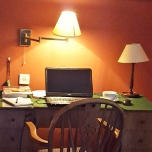 My desk at The Castleman Hotel where I completed my overnight assignment from Karen