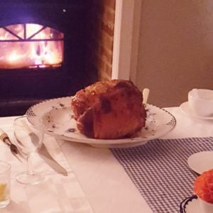 Clove Studded Baked Ham by the roaring log fire at All Hallows Farmhouse