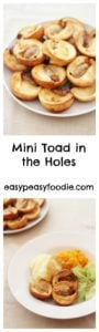 Tiny versions of a British classic, these Mini Toad in the Holes are great as a side dish to a roast dinner or as a main course in their own right, with a few veggies on the side. #toadinthehole #minitoadinthehole #yourshirepuddings #sausages #cocktailsausages #roastdinner #easyentertaining #easymidweekmeals #easymeals #midweekmeals #easydinners #dinnertonight #dinnertonite #familydinners #familyfood #easypeasyfoodie #cookblogshare