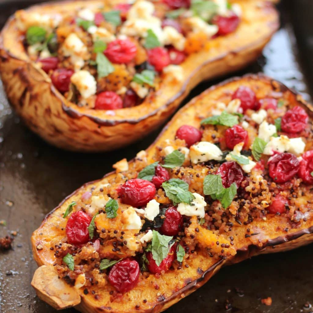 30 Stress Free Easy Camping Food Ideas Your Family Will: Cranberry, Feta And Quinoa Stuffed Butternut Squash