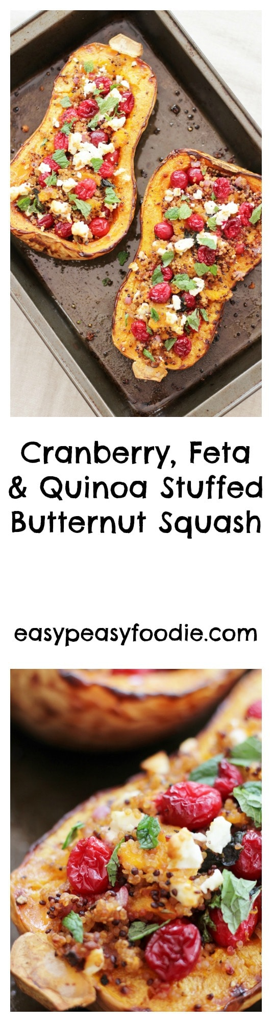Cranberry, Feta and Quinoa stuffed Butternut Squash - pinnable image for Pinterest