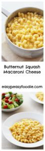 This Butternut Squash Macaroni Cheese recipe is so super easy – it takes well under 30 minutes and doesn't involve making a roux, plus it's a deliciously sneaky way of getting 1 of your 5 a day - perfect for fussy eaters! #butternutsquash #pasta #macaronicheese #macandcheese #onepot #onepotdinner #vegetarian #easymidweekmeals #easymeals #midweekmeals #easydinners #dinnertonight #dinnertonite #familydinners #familyfood #easypeasyfoodie #cookblogshare