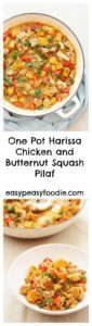 This easy peasy Harissa Chicken and Butternut Squash Pilaf takes less than 30 minutes to make and only uses one pan, yet tastes incredible. Perfect for busy days! #chicken #chickendinner #harissachicken #butternutsquash #chickenpilaf #harissapilaf #pilaf #easymidweekmeals #easyentertaining #easymeals #midweekmeals #easydinners #dinnertonight #dinnertonite #familydinners #familyfood #onepot #onepotdinner #glutenfree #dairyfree #easypeasyfoodie #cookblogshare
