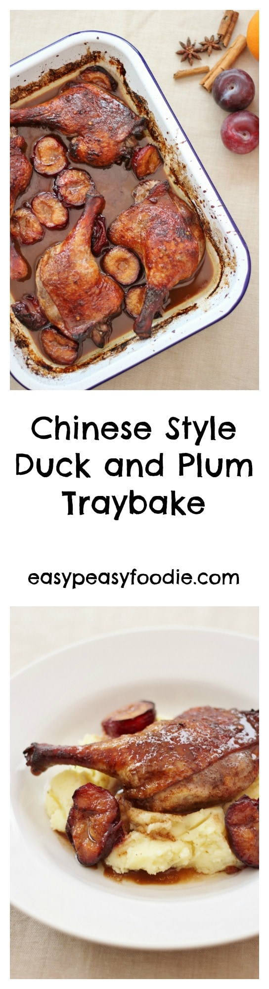 Flavoured with soy sauce, honey, Chinese five spice and chilli, this Chinese Style Duck and Plum Traybake tastes really decadent, but is actually super easy to make. #duck #duckrecipe #duckrecipes #chineseduck #plumsauce #duckandplumsauce #ducktraybake #plums #traybake #sheetpandinner#easymidweekmeals #easymeals #midweekmeals #easydinners #dinnertonight dinnertonite #familydinners #familyfood #vegan #vegetarian #glutenfree #dairyfree #easypeasyfoodie #cookblogshare