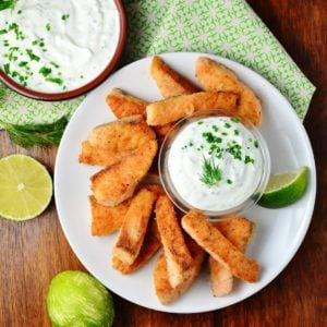 Salmon lime fish fingers