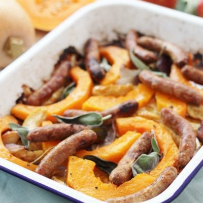 Sausage, Squash, Apple and Sage Traybake