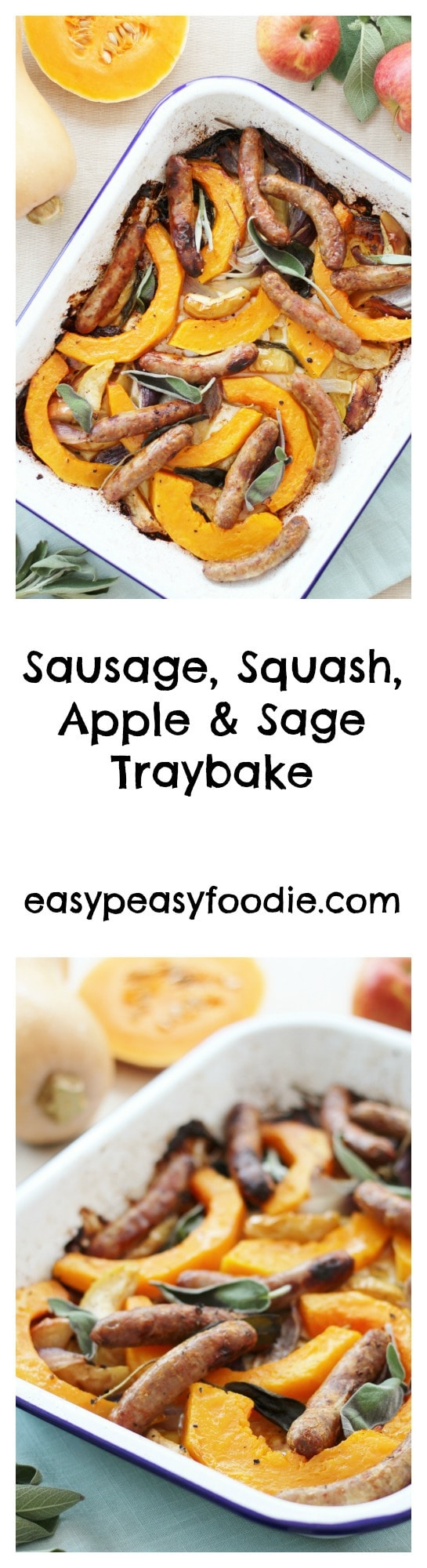 Autumn in a traybake! This simple Sausage, Squash, Apple and Sage Traybake is full of the flavours of the season, yet only takes a few minutes to throw together and into the oven. Perfect for busy midweek evenings! #traybake #sausagetraybake #autumntraybake #butternutsquash #sage #apples #easymidweekmeals #easyentertaining #easymeals #midweekmeals #easydinners #dinnertonight #dinnertonite #familydinners #familyfood #traybake #sheetpandinner #glutenfree #dairyfree #easypeasyfoodie #cookblogshare