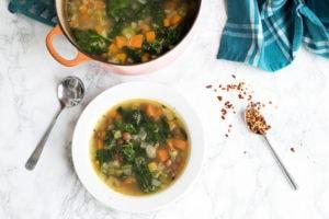 Borlotti Bean, Vegetable And Spinach Soup