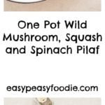One Pot Wild Mushroom, Squash and Spinach Pilaf