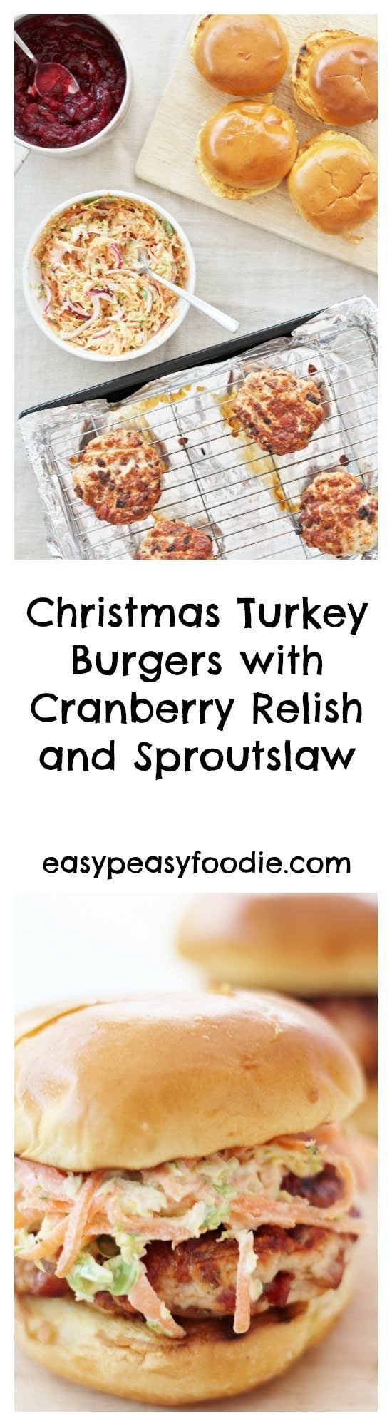 Christmas Turkey Burgers with Cranberry Relish and Sproutslaw - pinnable image for Pinterest