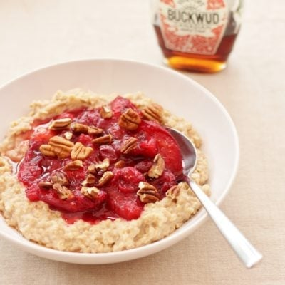Cinnamon Porridge with Cranberry and Plum Compote (Vegan)