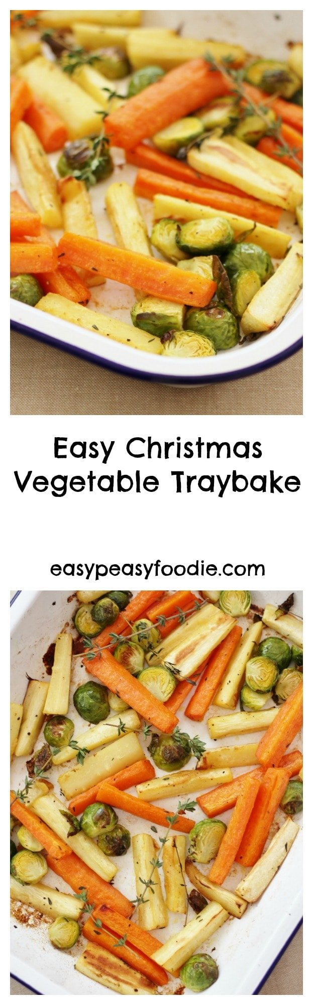 In my quest to make cooking Christmas dinner less stressful, I have created this Easy Christmas Vegetable Traybake. Roasting the parsnips, carrots and sprouts all together in one tray means you can relax and have a glass of bubbly instead of juggling pots and pans like a mad thing this Christmas. #christmas #vegetables #christmasvegetables #traybake #christmastraybake #easychristmasvegetables #stressfreechristmas #easychristmas #easypeasychristmas #easypeasyfoodie #freefromgang #cookblogshare