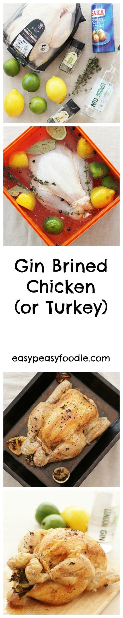 Gin Brined Chicken (or Turkey) - pinnable image for Pinterest