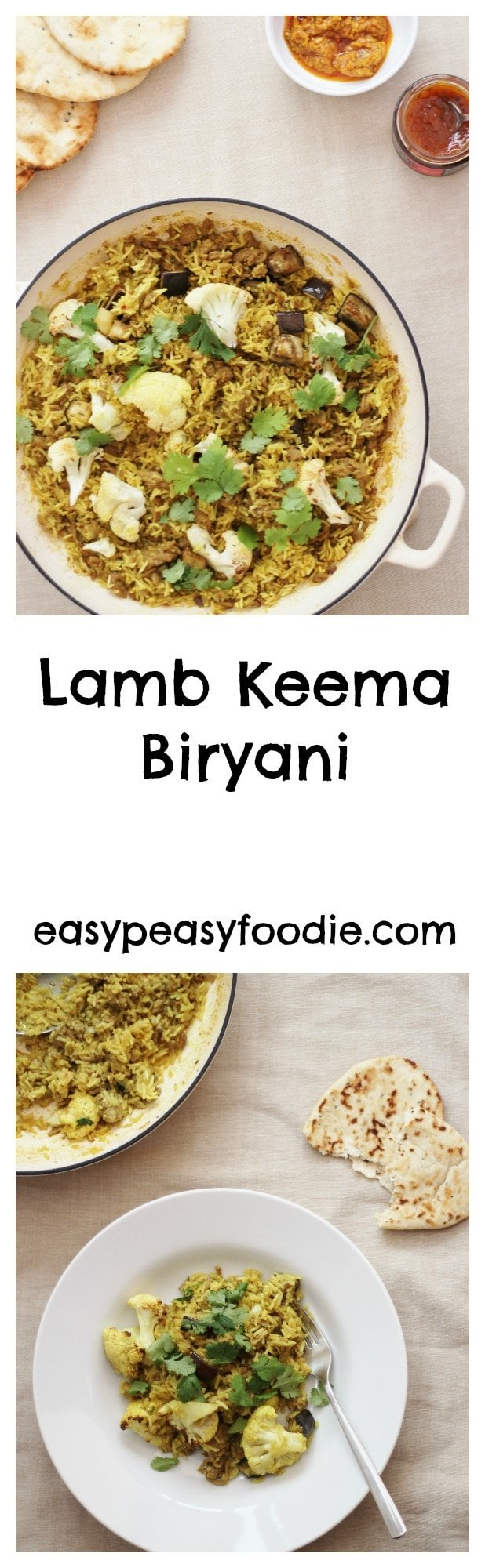 A simple, quick and totally tasty lamb recipe, this Lamb Keema Biryani is a perfect midweek meal for when time is tight, but delicious enough for the weekend too. #lamb #lambkeema #lambbiryani #biryani #lambcurry #easydinners #midweekmeals #easyrecipes #familydinners #easypeasyfoodie #cookblogshare