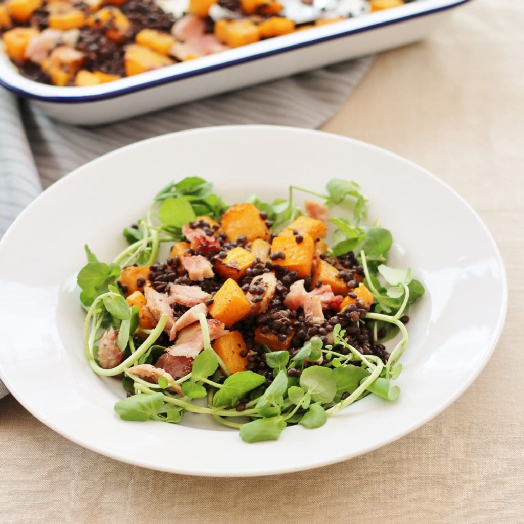 30 Stress Free Easy Camping Food Ideas Your Family Will: Leftover Ham, Squash And Puy Lentil Salad