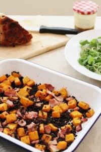 Leftover Ham, Squash and Puy Lentil Salad