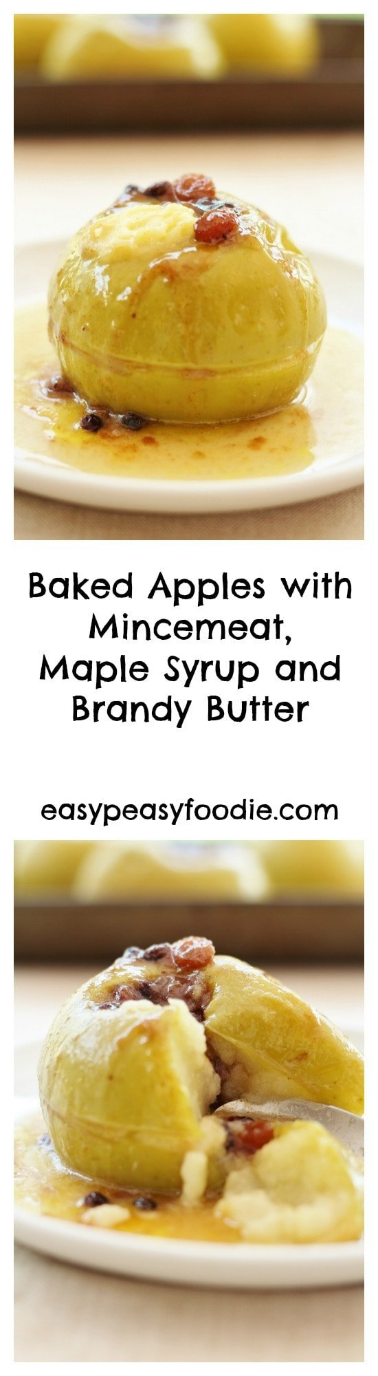 Baked Apples with Mincemeat, Maple Syrup and Brandy Butter - pinnable image for Pinterest