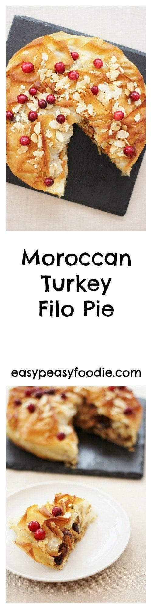 Moroccan Turkey Filo Pie - pinnable image for Pinterest