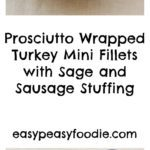 Prosciutto Wrapped Turkey Mini Fillets with Sage and Sausage Stuffing - pinnable image for Pinterest