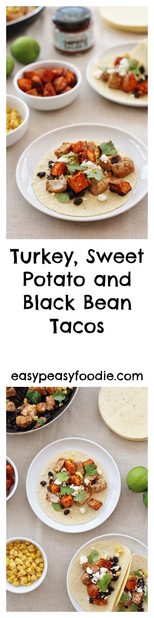 Turkey, Sweet Potato and Black Bean Tacos - pinnable image for Pinterest