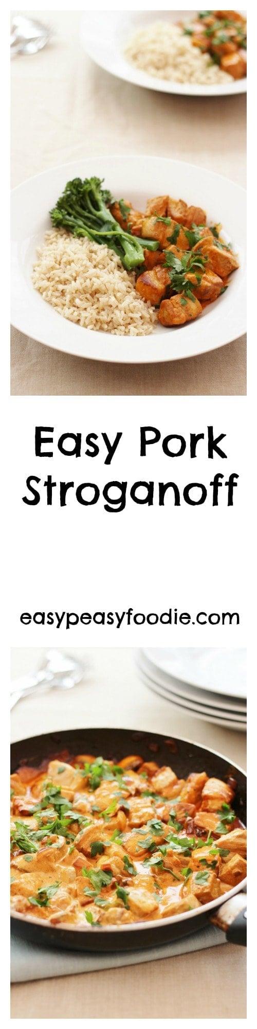 Easy Pork Stroganoff - pinnable image for Pinterest