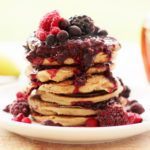 Oat, Almond and Banana Pancakes with Frozen Berry Compote