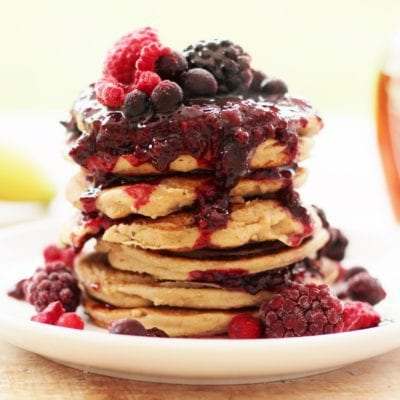 Oat, Almond and Banana Pancakes with Frozen Berry Compote (Vegan)
